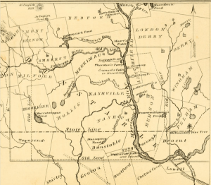 1846 map showing original town of Dunstable.