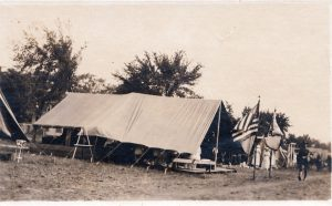 Postcard of a medical tent during WWI.