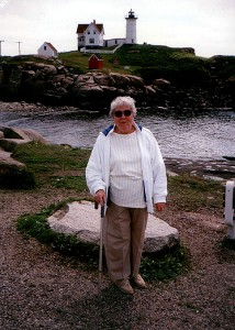 Mom at Nubble Light in Maine.