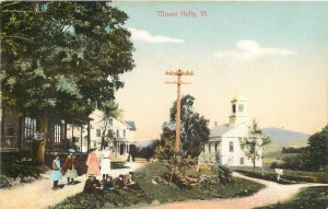 Old postcard showing a scene in Mount Holly Vermont, Rachel White's birthplace.