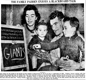 News article, 1937: (l to r) Mrs. Teresa Padden, daughter Janice, Tom Padden, son Tommy.