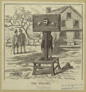 The pillory, 1881, Mid-Manhattan Picture Collection, NYPL Digital Library