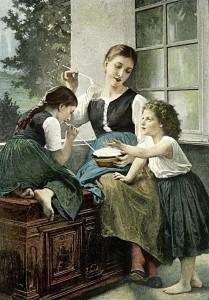 Painting: Soap Bubbles, 1891, oil on canvas, by Elizabeth Gardner Bouguereau