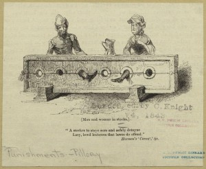 A man and woman in stocks, 1848, Mid-Manhattan Picture Collection, NYPL Digital Library