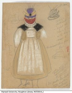 "Drawing. Merry Wives of Windsor, costume design, Falstaff by T. Komisarjevsky, 1935, pencil and pastel on paper. Part of LDI project: Russian Theatrical Designs in the Harvard Theater. Gift of Ernestine Stodelle Komisarjevsky Chamberlain, 1957. Inscription: "" ...Flastaff in disguise...light silk muffler."" Harvard Theatre Collection."