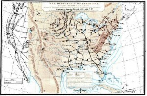 Signal Corps Weather Map, from Daily Bulletin of Weather-Reports, Synopses, Probabilities And Facts, for the month of March 1873; Washington, Government Printing Office