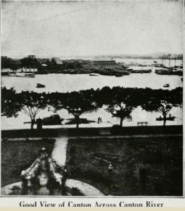 "View of Canton Across Canton River, from ""Canton China,"" published by Bureau of Navigation, under Authority of the Secretary of Navy, 1920, page 22"