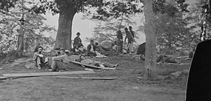 Wounded soldiers under trees, Marye's Heights, Fredericksburg. After the battle of Spotsylvania, 1864.Matthew Brady Photographs; Records of the Office of the Chief Signal Officer, National Archives.