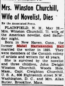 Mrs. Churchill's obituary from the Evening Star newspaper, Washington DC 28 May 1945.