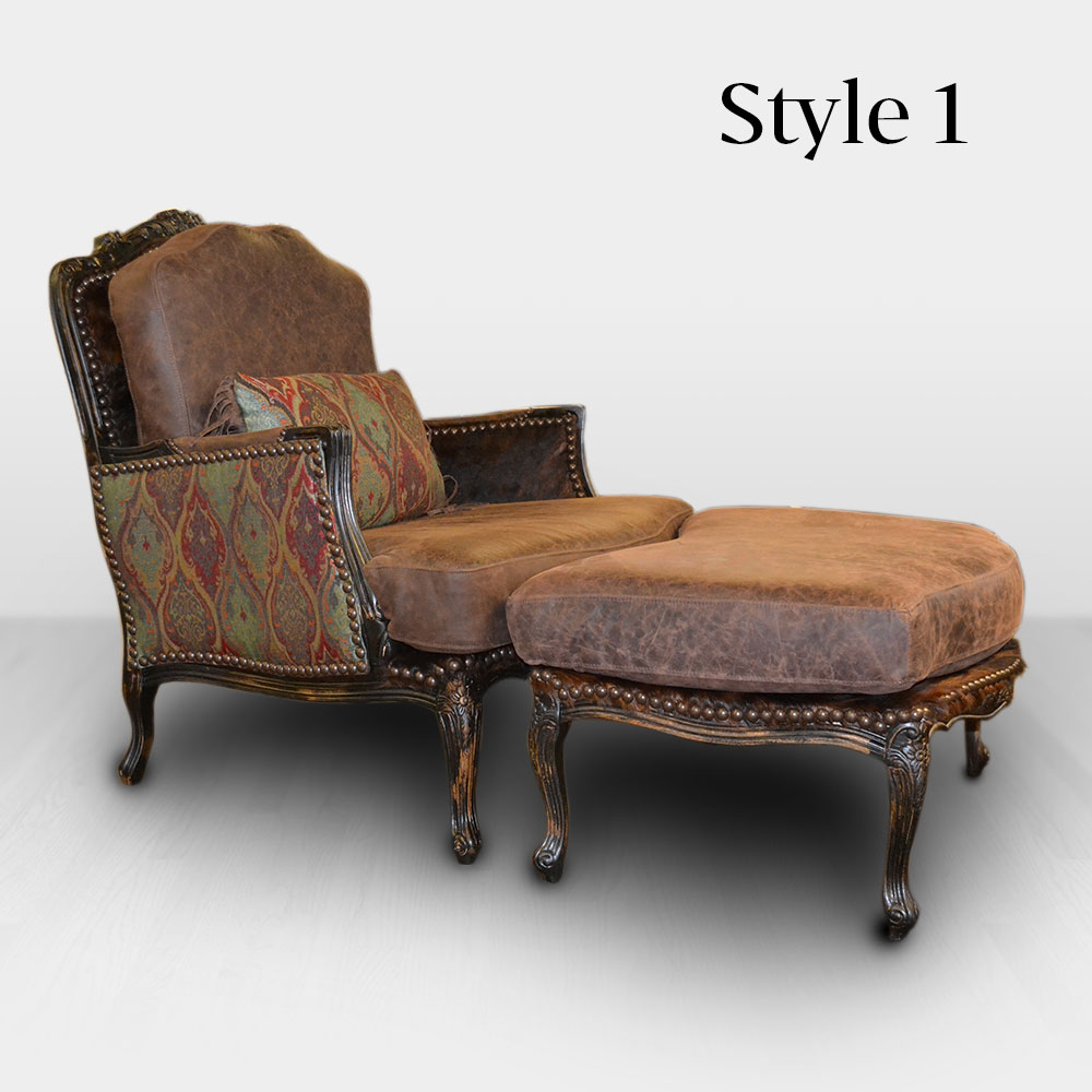 leather bergere chair and ottoman the perfect sleep reviews cowhide western furniture 2 832 00