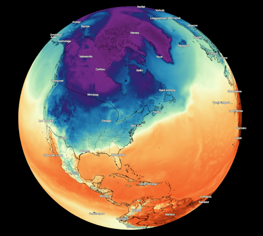 3d temperature map from DarkSky.net