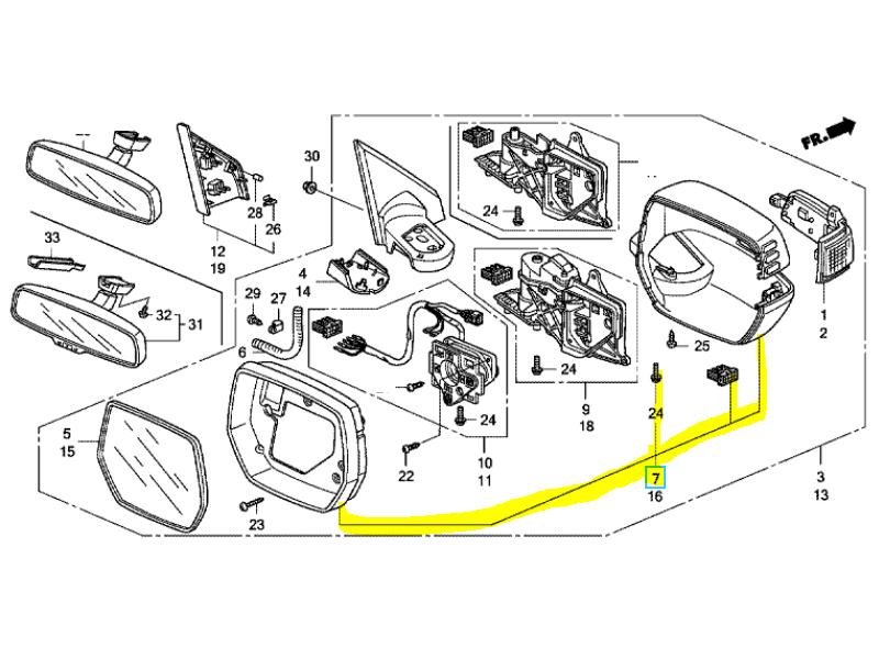 Genuine Honda CR-V Right Side Mirror Scull Cap/Housing Set