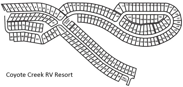 Layout of the Coyote Creek RV Resort Park, operated by the
