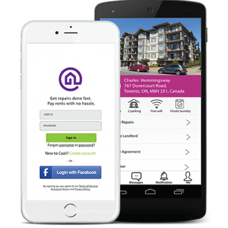 Cozii mobile app for landlords, tenants and contractors