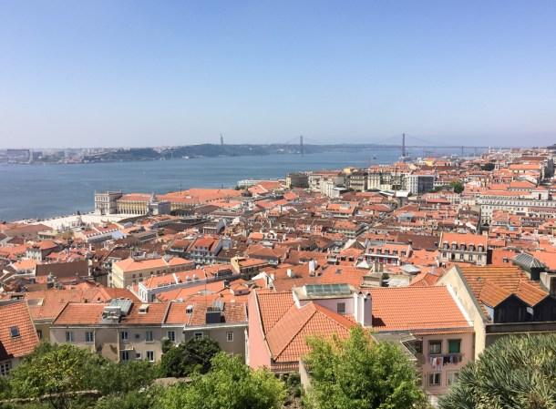Vista do Castelo de São Jorge: Lisboa e ao fundo o Tejo