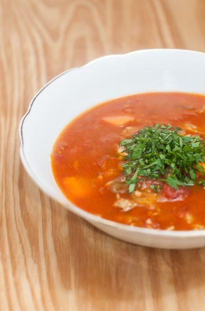 Receita: Sopa de mariscos — Manhattan Clam Chowder