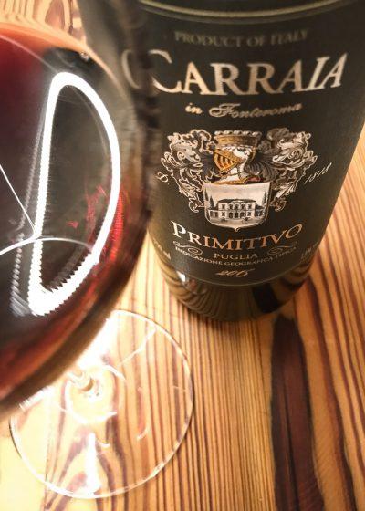 Vinho Carraia Primitivo, vendido pela Evino | Cozinha do João