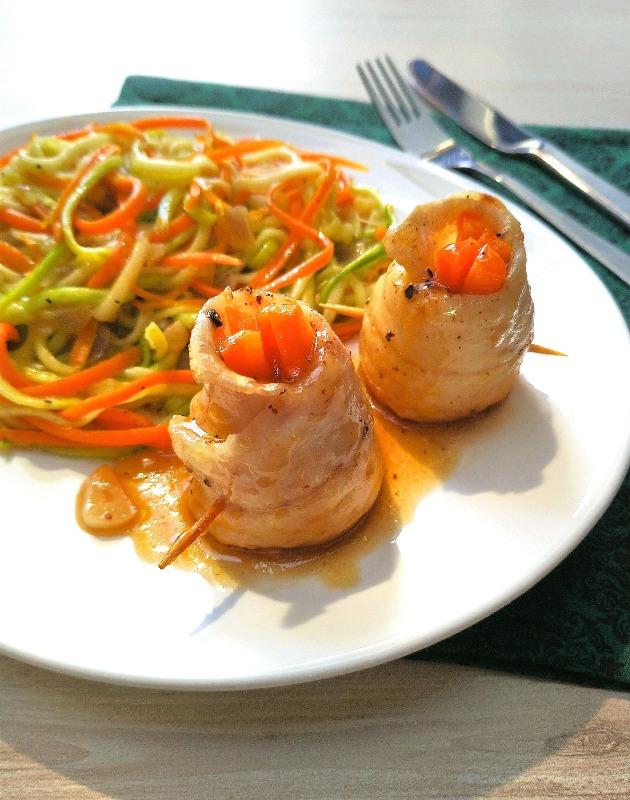 Rosetas de peixe com legumes