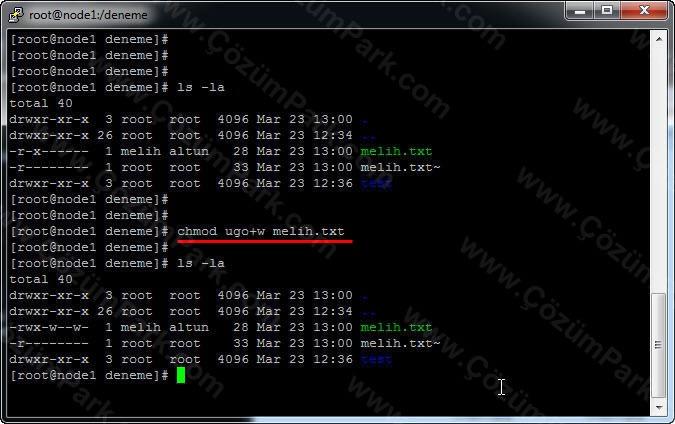 Linux Unix : Linux Dosya Sistemi ve İzinler