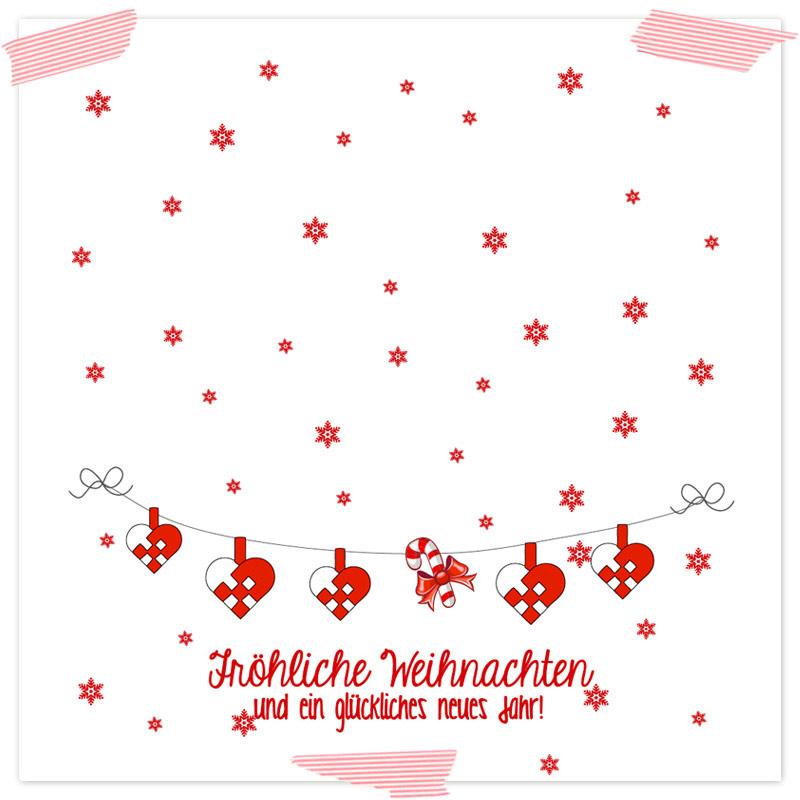 Gutscheinvorlage Julehjerter. Selbstgebastelte Gutscheinvorlage ideal als Last-Minute-Geschenk, mit Weihnachtsmotiven und Formularfeldern zum selber ausfüllen. Vorlagen als Download (Printable, Freebie)