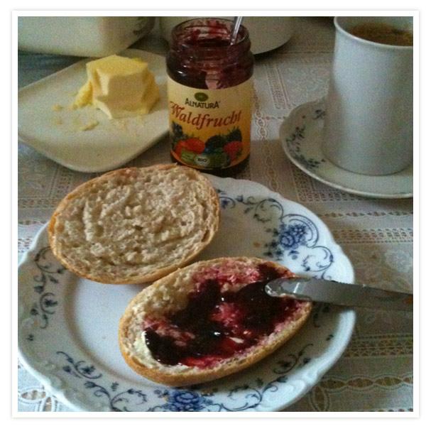 Nachdem ich die Raubtiere gefüttert habe, machte ich auch für uns Frühstück und schmierte mir ein Marmeladenbrot