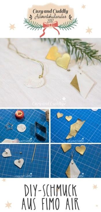 Advent: DIY-Schmuck aus Fimo Air und Goldspray selber machen - cozy and cuddly Adventskalender
