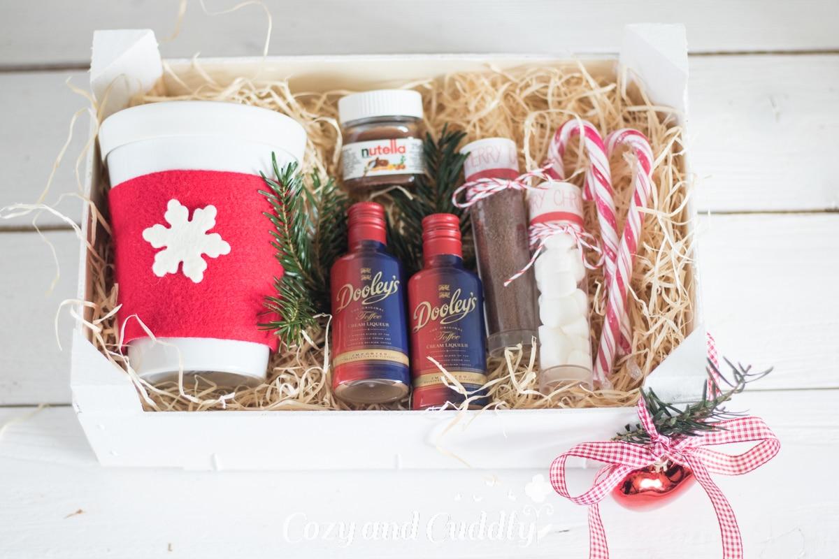 DIY-Geschenk Set für heiße Schokolade aus Mandarinenkiste