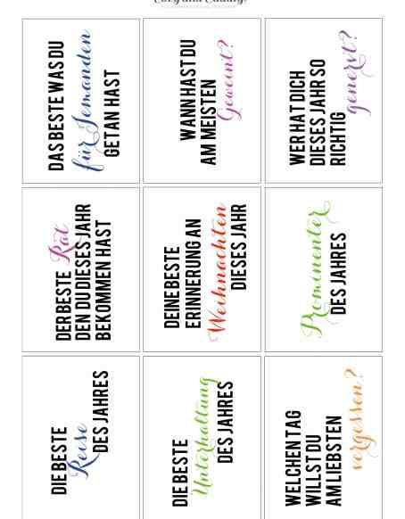Silvester Jahresrückblick Fragespiel gegen Langeweile - Jahresrückblick - Printable für Eilige - cozy and cuddly