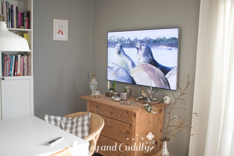 Fernsehecke im Shabby-Chic - Flatscreen integriert sich perfekt - Samsung QLED 7 TV