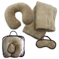 Fleece Travel Set (Blanket, Neck Pillow, Eye Mask)
