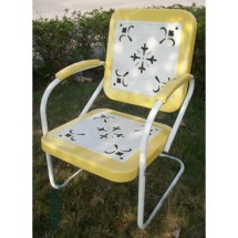 4d Concepts Metal Chair Retro - Yellow And White