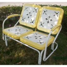4d Concepts Metal Retro Glider - Yellow And White