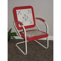 4d Concepts Metal Chair Retro - Red Coral And White