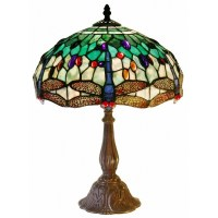 Tiffany Style White Dragonfly Table Lamp