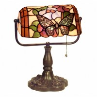 Tiffany Style Banker Butterfly Desk Lamp KS61