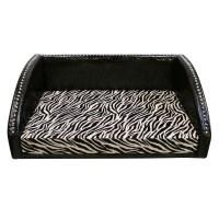 Large Pet Bed - Chocolate Vinyl / Chocolate Zebra