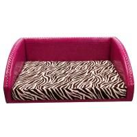 Large Pet Bed - Hot Pink Vinyl / Zebra Pink