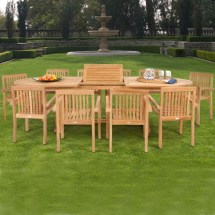 Modern Teak Patio Dining Set 11 Piece With Arm Chairs