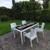Miami Wickerlook Resin Patio Dining Set 5 Piece Rectangle ...