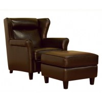 brown leather chair and ottoman - 28 images - coaster faux ...