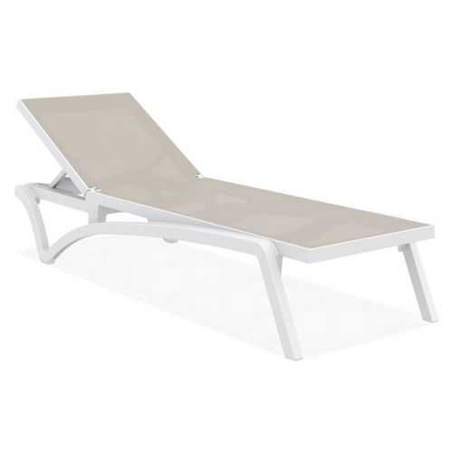 pacific stacking sling chaise lounge white taupe