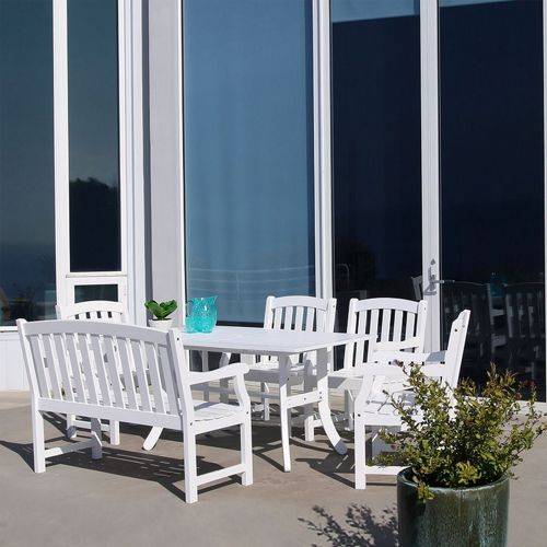bradley classic 6 piece wood outdoor patio dining set with 4ft bench and 4 chairs white
