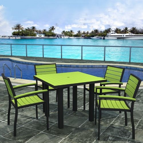polywood euro aluminum square outdoor dining set with black frame 5 piece