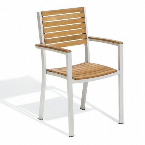 travira aluminum teak stackable dining chair