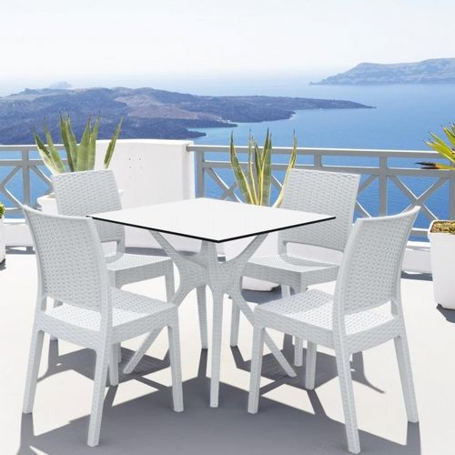ibiza florida square patio dining set 5 piece white