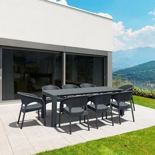 panama extendable patio dining set 9 piece dark gray