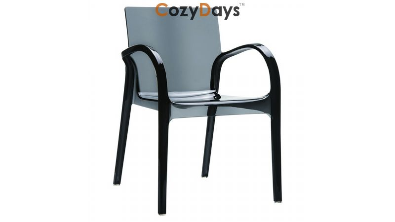plastic see through chair overstock com dining chairs dejavu clear outdoor arm black isp032 tbla cozydays
