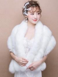 White Faux Fur Bridal Wrap Shawls - CozyLadyWear