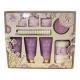 Grace Cole Fresh Lavender Luxury Kit 100ml - Set Bath Foaml 100ml & Shower Gel 100ml & Body Peeling 100ml & Body Cream 100ml & Sparkling Tablet 3 X 80 G & Towel & Massage Gadget
