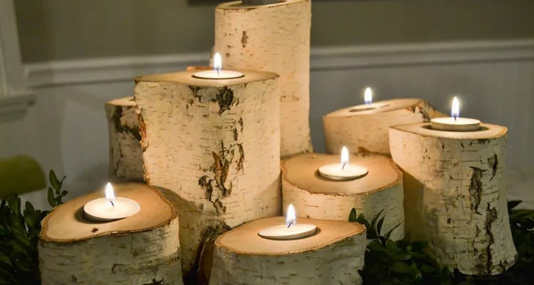DIY – How to Make a Set of Tree Stump Candle Holders for the Holidays